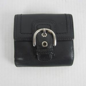 Vtg Coach Wallet Black Leather 2 Sided Coin/BiFold